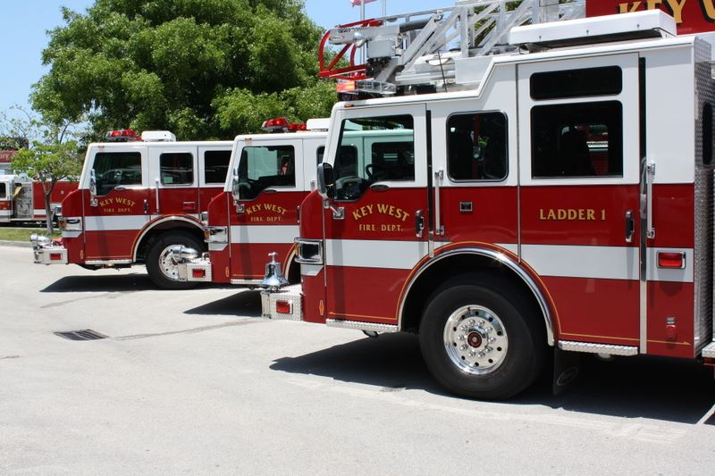 Row of Fire Ladder Vehicles