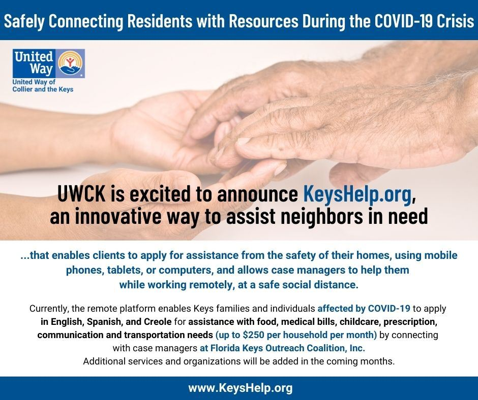 Image of child hands holding senior citizen hands in ad for United Way of Collier and the Keys