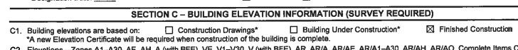"Example of how line ""C1"" on a FEMA Elevation Certificate may appear"