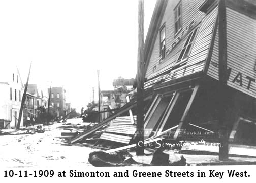 10-11-1909 at Simonton and Greene Streets in Key West - Building Collapsed